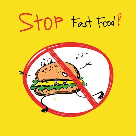 quick drawing: Stop fast food.Hamburger, hand drawing, vector illustration