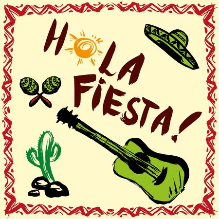 hola: Hola fiesta! Card with calligraphy and sun. Guitar, maracas, sombrero.Hand drawn vector. Illustration