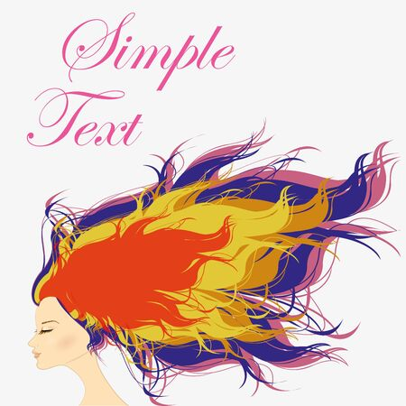 feminize: Girl with multicolored hair, vector illustration