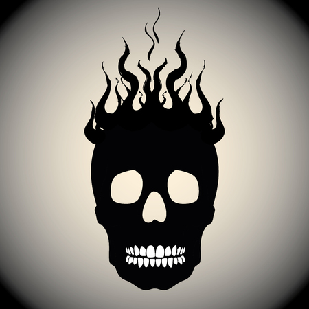 hostile: Skull on Fire with Flames Vector Illustration