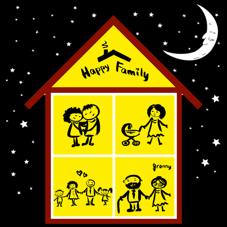 family moving house: Happy family in house at night, hand drawing vector Illustration