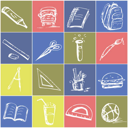 school kids: Educational icons, hand drawing, vector illustration