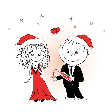 man pours a drink of love girlfriend for Christmas, vector