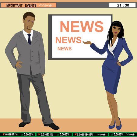 newsroom: A illustration of TV news anchors