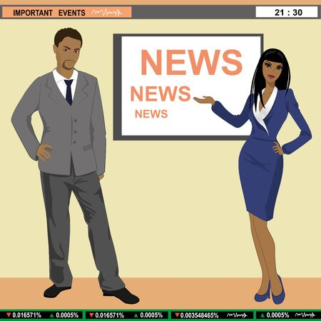 A illustration of TV news anchors