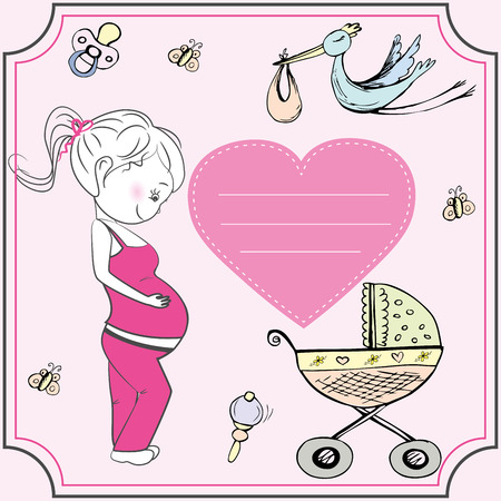baby announcement card: Cartoon pregnant woman and heart. baby announcement card.
