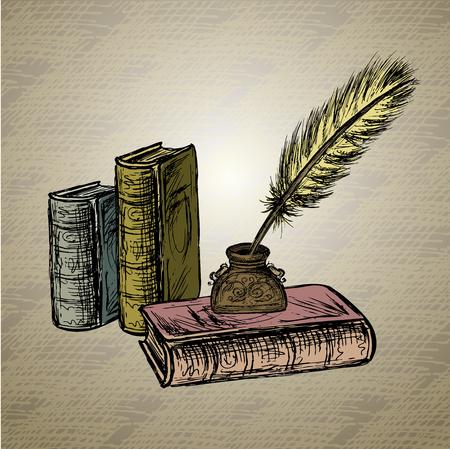 pluma de ganso, elegante pasada de moda tintero decorativo, papel viejo con la inscripción. Fondo de la vendimia. Dibujado a mano