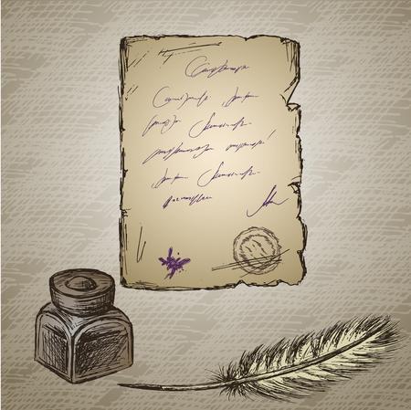 Piuma d'oca, calamaio elegante decorativo antiquata, vecchia carta con iscrizione. Vintage sfondo. Disegnato a mano