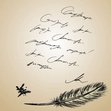 inkstand: Goose feather and old paper with inscription, hand drawn background