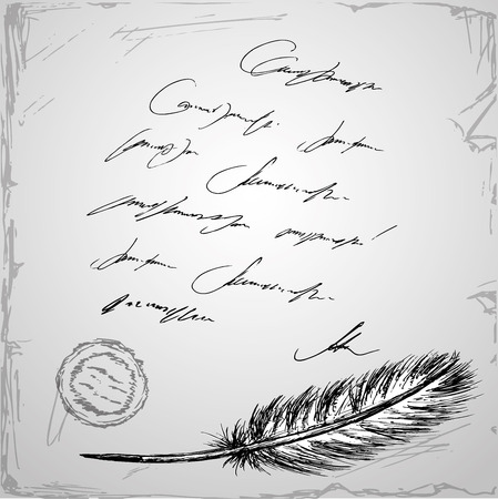 inkpot: Goose feather and old paper with inscription, hand drawn background