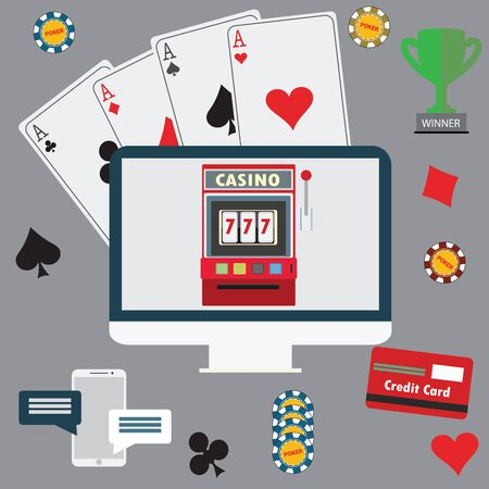 Gambling flat icons set. Casino concept collection. 向量圖像