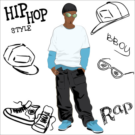 hip: African-American man dressed as rapper trendy and hip hop accessories hand-drawn Illustration