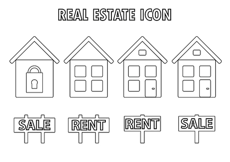 rent: Real Estate icon, sell and rent, black and white.