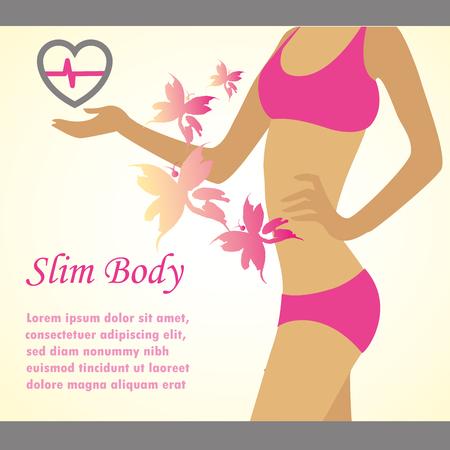 slim body: Slim body concept, a place for  inscription, vector illustration