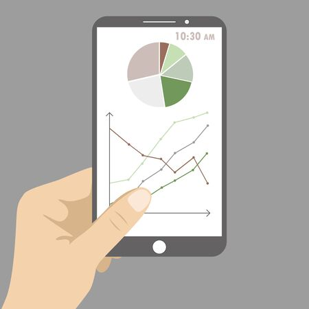 social history: Smart phone with business graph in hand.  Vector illustration