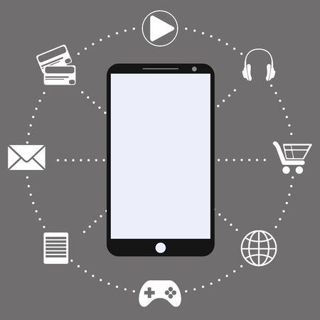 smart phone hand: Mobile App,human hand smart phone illustration Illustration