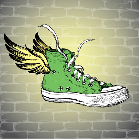 dirty feet: Vintage Sneakers with wings  Hand Drawn, vector illustration. Illustration