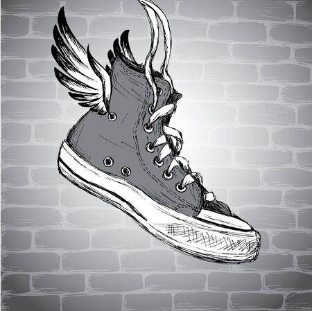 Vintage Sneakers with wings Hand Drawn, vector illustration