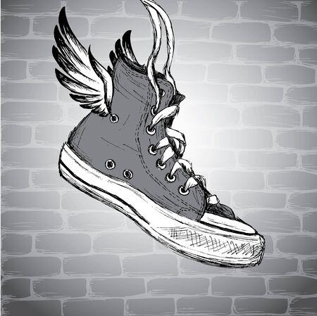 hand drawn wings: Vintage Sneakers with wings  Hand Drawn, vector illustration Illustration