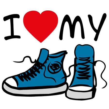sneakers: I love my sneakers.sneakers with inscription. Hand drawn vector illustration