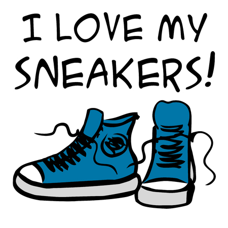 I love my sneakers.sneakers with inscription. Hand drawn vector illustration