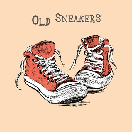 dirty feet: Vintage Sneakers Hand Drawn, vector illustration Illustration