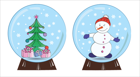 Souvenir snowman and Christmas tree in a snow globe, vector illustration