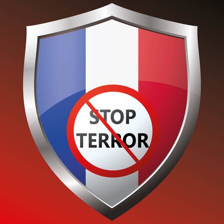 warning against a white background: Stop terror.icon with the French flag. Vector illustration