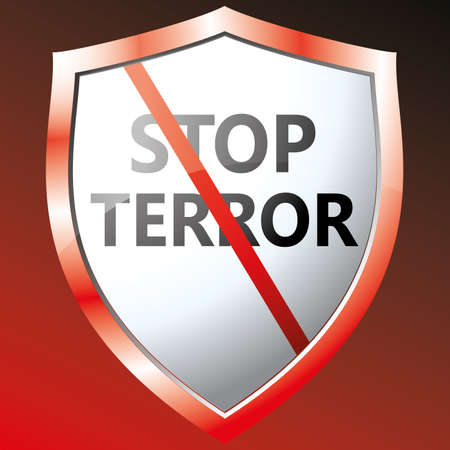 warning against a white background: Stop terror icon. Vector illustration Illustration