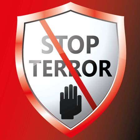 terror: Stop terror icon. Vector illustration Illustration