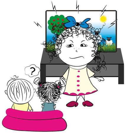 forbids: mother forbids children to watch television, vector illustration Illustration