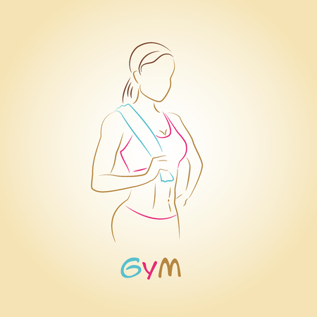 Fitness club logo or banner with woman silhouette. Vector illustration. Isolated on white background. Illustration