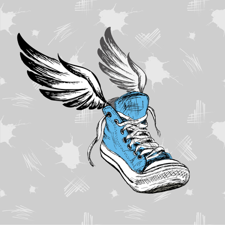 postcard vintage: Vintage Sneakers with wings, hand drawing, vector illustration