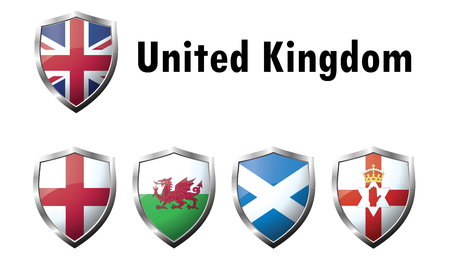 flag icons: Flag Icons of the United Kingdom. Vector graphic images of glossy flag icons. Illustration