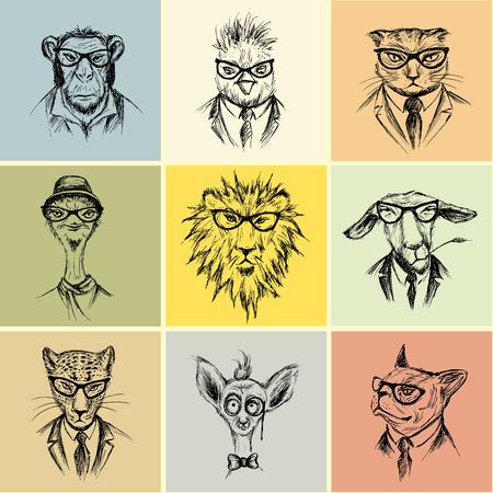 animales safari: Dibujado a mano Juego de nueve inconformista animal, ejemplo del vector Vectores