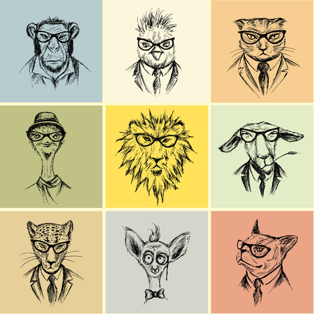 Hand Drawn set  nine animal  Hipster , vector illustration