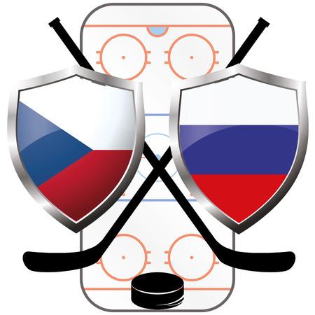the czech republic: hockey logo- Czech Republic vs russia, vector Illustration