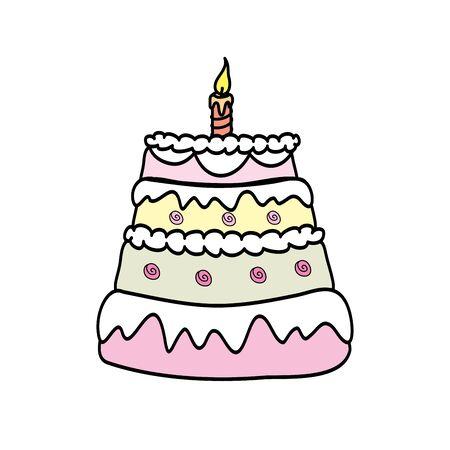 Cake isolated on white background. Vector illustration