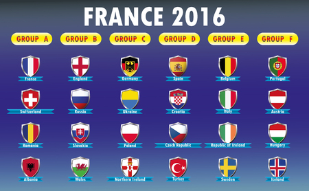groupe: France 2016 football infographics, icons flags of the participating countries, vector illustration