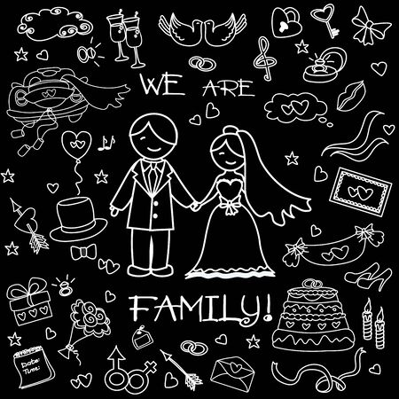 black family: Wedding set, the words We are a family! On the black background, hand drawing doodle, vector illustration