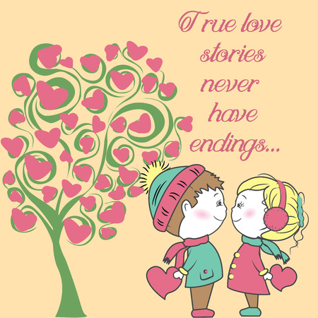 oncept: couple in love with a tree of love, Background Valentines Day, hand drawing vector illustration.