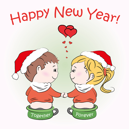 Loving boy and girl sitting on childrens pots, Happy New Year greeting card, vector