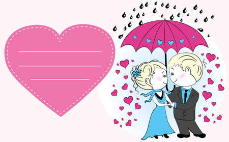 couple in rain: Couple in love standing under an umbrella in the rain, vector greeting card