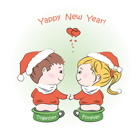 chamber pot: Loving boy and girl sitting on childrens pots, Happy New Year greeting card, vector