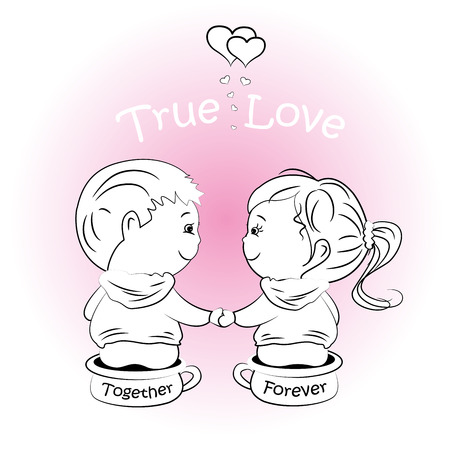 vector-valentines day illustration with boy and girl,greeting card.