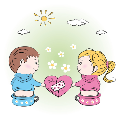 chamber pot: vector-valentines day illustration with boy and girl,greeting card.