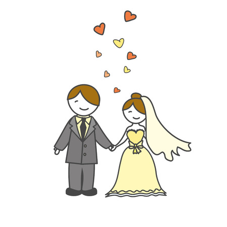 spouses: wedding card with cartoon groom and bride, vector illustration Illustration