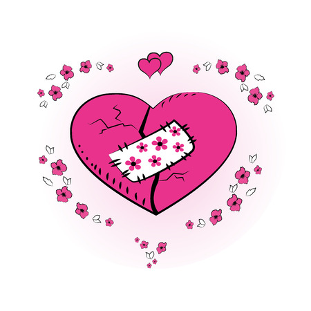 greating card: Pink heart with a patch, greating card,vector illustration