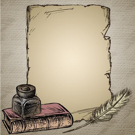 Gänsefedern, elegant altmodischen dekorative inkpot, altes Papier für inscription.Old Buch. Vintage-Hintergrund. Hand gezeichnet Vektor Vektorgrafik