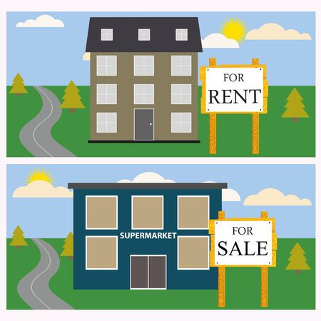house for rent: House for rent or for sale. Vector illustration. Illustration